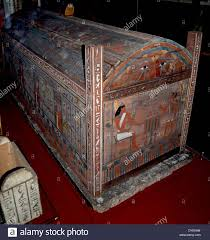 wooden coffin painted wooden coffin of the prophet of monta hor 700 b c stock