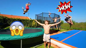 the best backyard ever airtrack crazy trampolines youtube