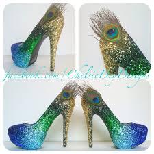 wedding shoes platform peacock glitter high heels gold green royal blue light blue