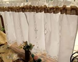 French Lace Kitchen Curtains Pair 2 Burlap Bathroom Kitchen Cafe Curtains Framhouse French