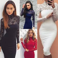 aliexpress com buy turtleneck long sleeve lace midi club