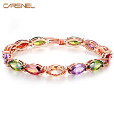 multi colored stones bracelet images Carsinel fashion rose gold color multi color stone bracelet length jpg