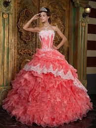 coral quince dress perfectly organza embroidery ruffless coral quinceanera dresses on