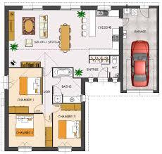 plan de maison plain pied 3 chambres avec garage cuisine construction maison neuve charme lamotte maisons