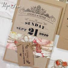 wedding invitation set rustic wedding invitation kraft paper wedding invite set modern