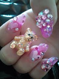 cute pink and sparkly nails kawaii nails bling nails and makeup