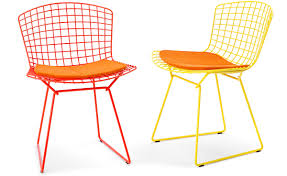 Orange Chair Bertoia Side Chair With Seat Cushion Hivemodern Com