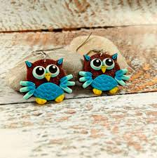 cute owls owls earrings birds jewelry colorful owl clay owls