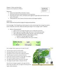 Photosynthesis Concept Map Vocabulary Photosynthesis Respiration Chapter 1 Plants And