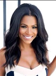 black hair weave part in the middle nia long loose wave middle parting hairline synthetic lace front
