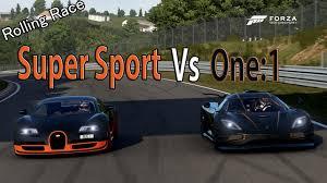 koenigsegg bugatti forza motorsport 6 drag race koenigsegg one 1 vs bugatti veyron