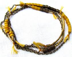 gold beaded necklace images Long thin beaded necklace in gold and yellow seed beads jpg
