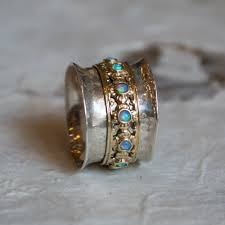 hippie wedding ring silver gold wedding band spinner ring opal ring boho chic ring