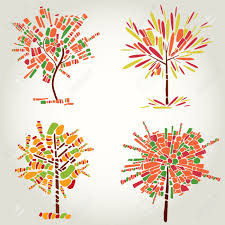 set of designs with decorative tree from mosaic thanksgiving