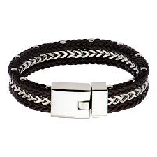 chain bracelet with leather images Braided brown leather and steel chain bracelet the getty store jpg