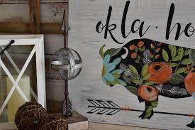 buffalo floral oklahoma rustic farmhouse sign hand painted