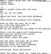 gospel song make a joyful noise unto the lord trad lyrics and
