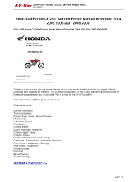 2004 2009 honda crf250r service repair manual download 2004 2005