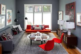 red couch decor brooklyn townhouse contemporary living room new york by