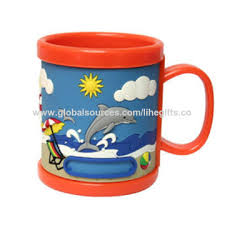 design plastic mug china 12oz soft pvc plastic mug with customized 3d cartoon design