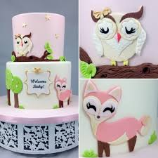 owl and fox baby shower cake baby shower cake pinterest fox