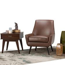 Leather Accent Chair Simpli Home Warhol Saddle Brown Air Leather Accent Chair Axcchr