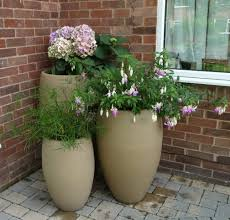 outdoor and patio two black tall planters wooden newest modern