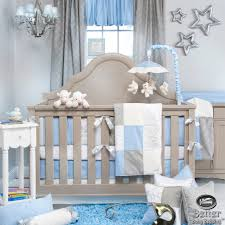 glenna jean baby boy blue grey white prince star crib nursery
