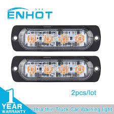 warning light bar amber enhot 2pcs car styling 12v 4 led strobe warning light bar amber red