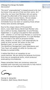Extenuating Circumstances Disney Pays Cast Members For Lost Wages Due To Hurricane Irma