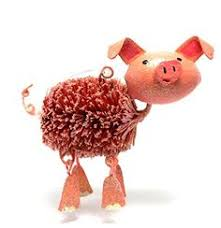 pink pig with glitter glass ornament ornament and glass