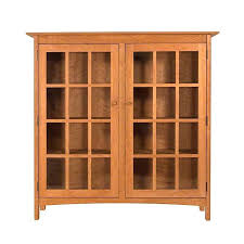 bookcase furniture cherry wood book cabinet with glassdoor and