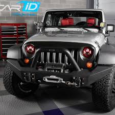 jeep wrangler blue headlights lumen jeep wrangler 2007 2017 7 projector led headlights