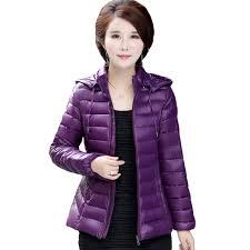 plus size light jacket 2018 winter parkas ultra light jacket women hooded coat plus size