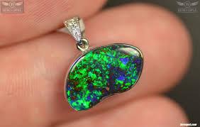 natural white opal natural solid australian boulder opal 18k white gold pendant