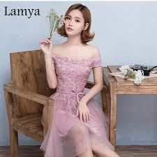 Aliexpress Com Buy Lamya Vintage Sweatheart Lace Bride Gown Aliexpress Com Buy Lamya One Shoulder Lace Short Pink