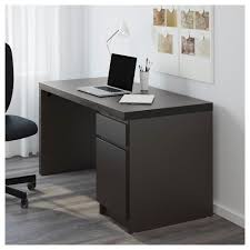 malm desk black brown ikea