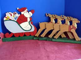 Yard Art Santa Claus Reindeer Plywood Cut Outs Allunique DMA