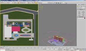 exotic color names 3d model business complex with exotic front yard