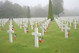 French And American Flags The Normandy American Cemetery And Memorial In France Is Located