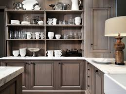 Grey Kitchens by Grey Stained Cabinets Kitchen Kitchens With Brick Accent Walls