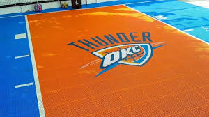 snapsports backyard home basketball court w custom okc theme