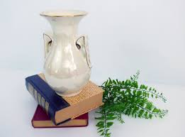 vintage ivory iridescent lusterware china vase w gold floral trim
