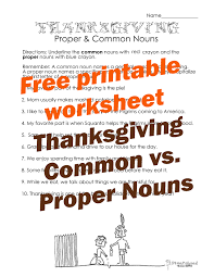 thanksgiving common vs proper nouns worksheet 2 squarehead teachers