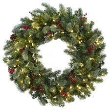 lighted pine wreath with berries and pine cones 30 rustic
