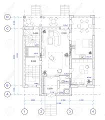 architectural black and white plan of 1 floor of house with a