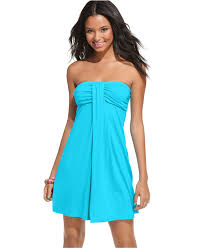 hula honey cover up strapless bandeau ruched empire dress