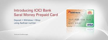 bank prepaid cards benefits saral money prepaid card icici bank ltd
