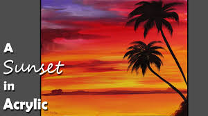 acrylic painting a sunset in acrylic color episode 1 youtube