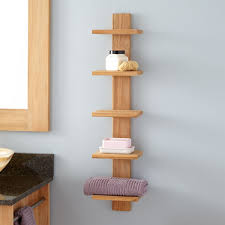 Wood Bathroom Furniture Bastian Hanging Bathroom Teak Shelf Five Shelves Teak Shelves